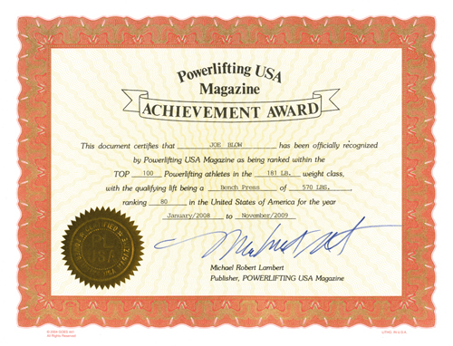 PL USA Top 100 Achievement Certificate